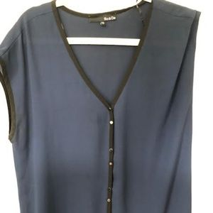 Blue and black button down shell